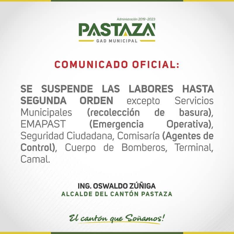 Emapast Informa Que Continúan Suspendidas Las Actividades Administrativas Y Oper
