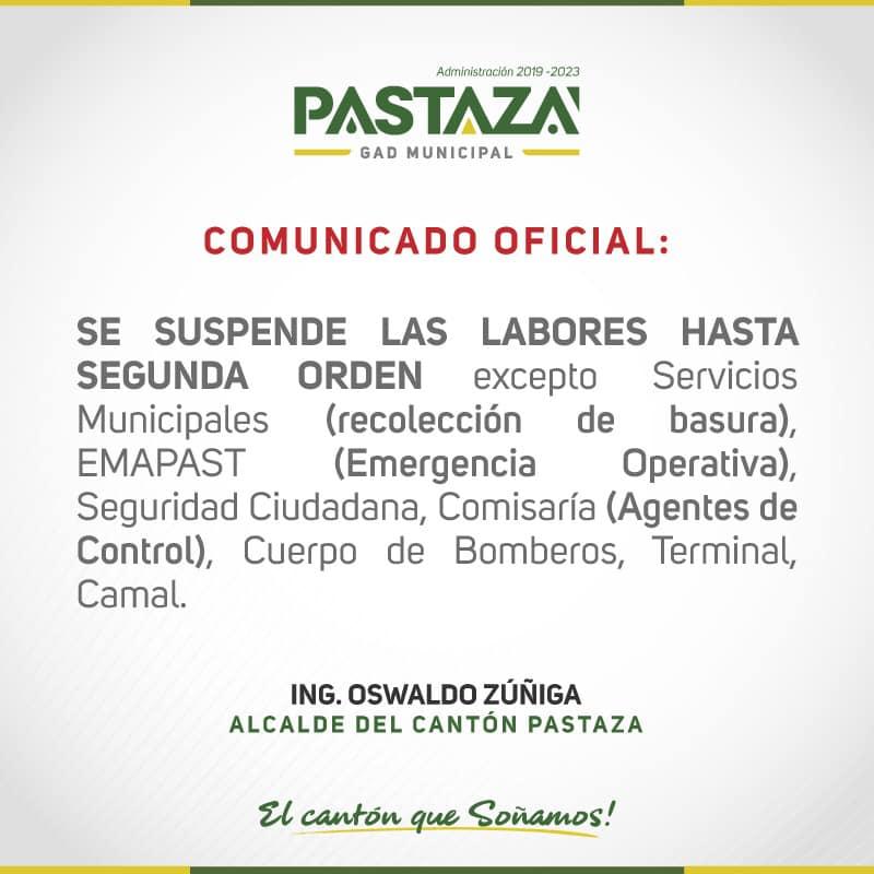 Emapast Informa Que Continúan Suspendidas Las Actividades