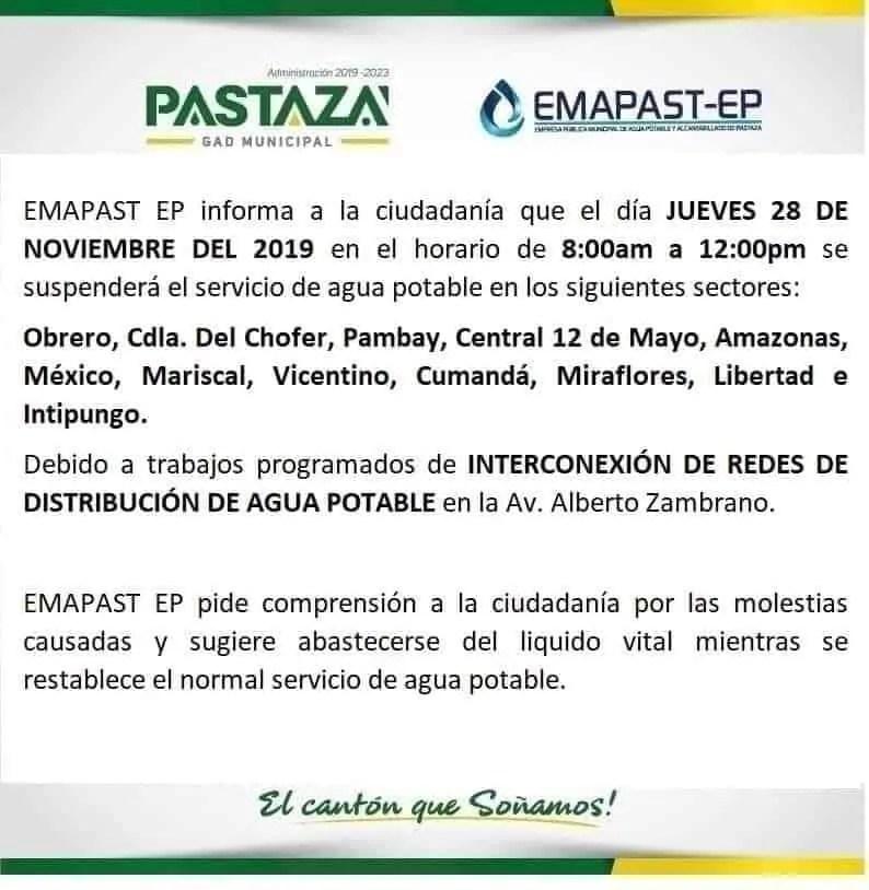 #Comunicado #TrabajosProgramados