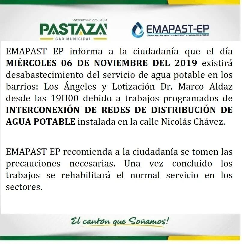EMAPAST EP Informa A La Ciudadanía Que El Día MIÉRCOLES