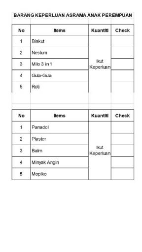 Checklist Masuk Asrama 1