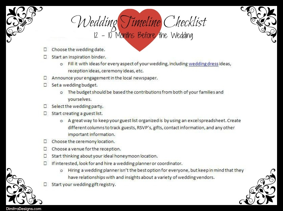 12 Month Wedding Checklist