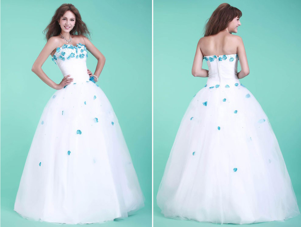 Teal And White Wedding Dress