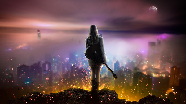 Girl with guitar standing on top of cliff above futuristic city