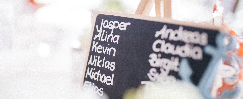 Blackboard with names written on it