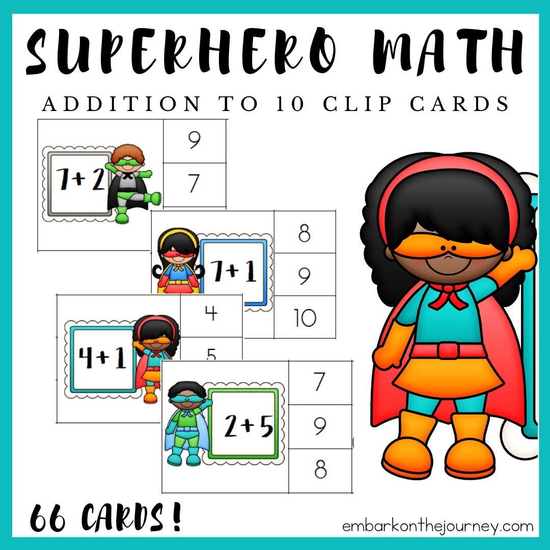 Free Printable Superhero Math Addition Clip Cards