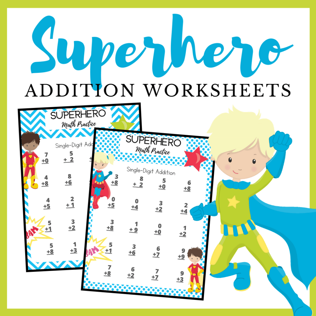 Free Printable Superhero Addition Worksheets