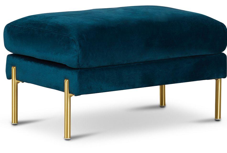 bella dark blue velvet ottoman