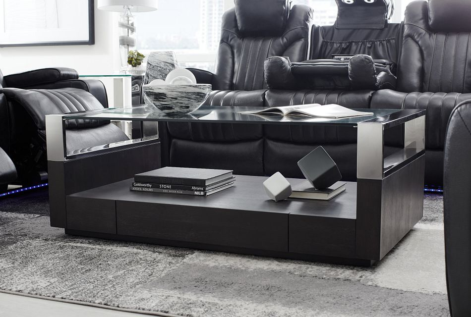 remus dark tone storage rectangular coffee table