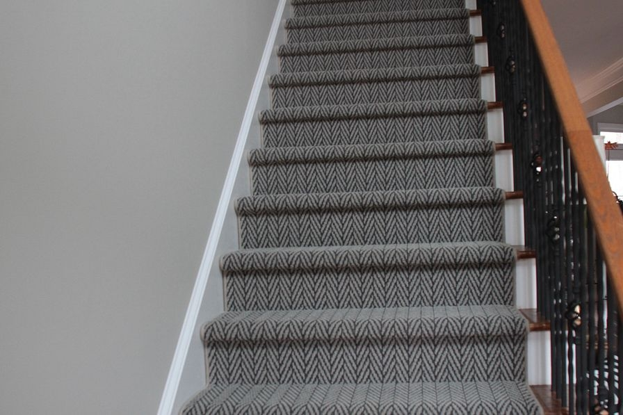Floor Design Shaw Designers Change How You See Floors Shaw | Grey Patterned Stair Carpet | Teal | Black | Farmhouse Style | Stair Landing | Wall