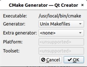 CMake Generator dialog