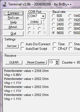 ADC conversion on terminal window