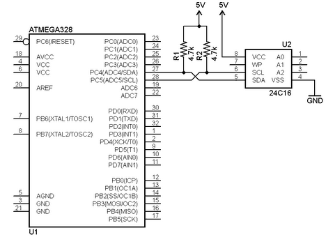 i2c interface bus connection with pull-up resistors