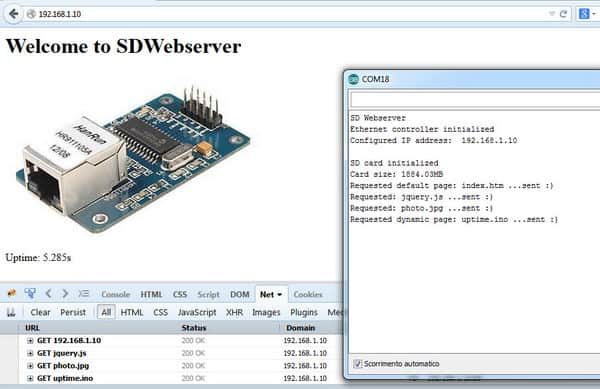 Building complete webserver with Arduino, SD card and