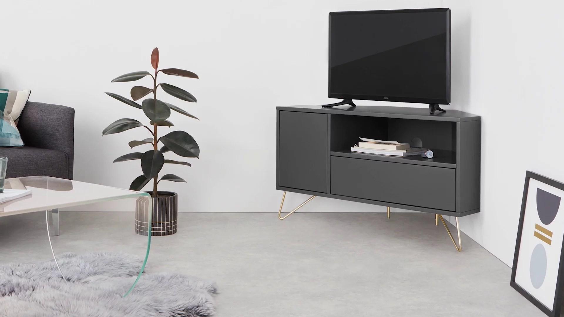 elona meuble tv d angle gris anthracite et laiton