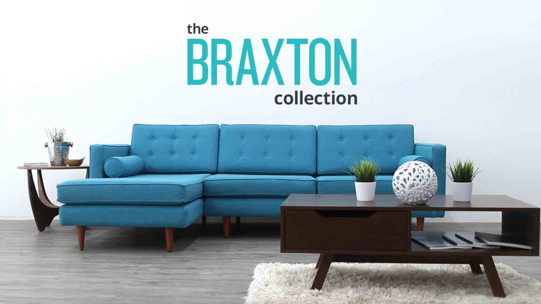 Braxton Sectional with Bumper   Joybird