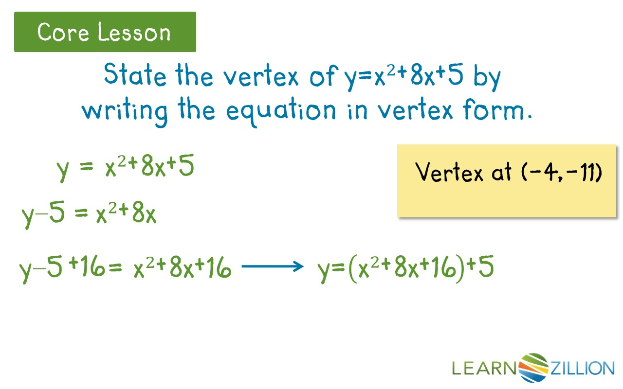 Converting Quadratic Equations Worksheet Standard To Vertex Calculator
