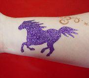 purple mustang glitter tattoo
