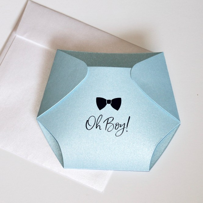 Oh Boy Bow Tie Diaper Baby Shower Invitation Embellished