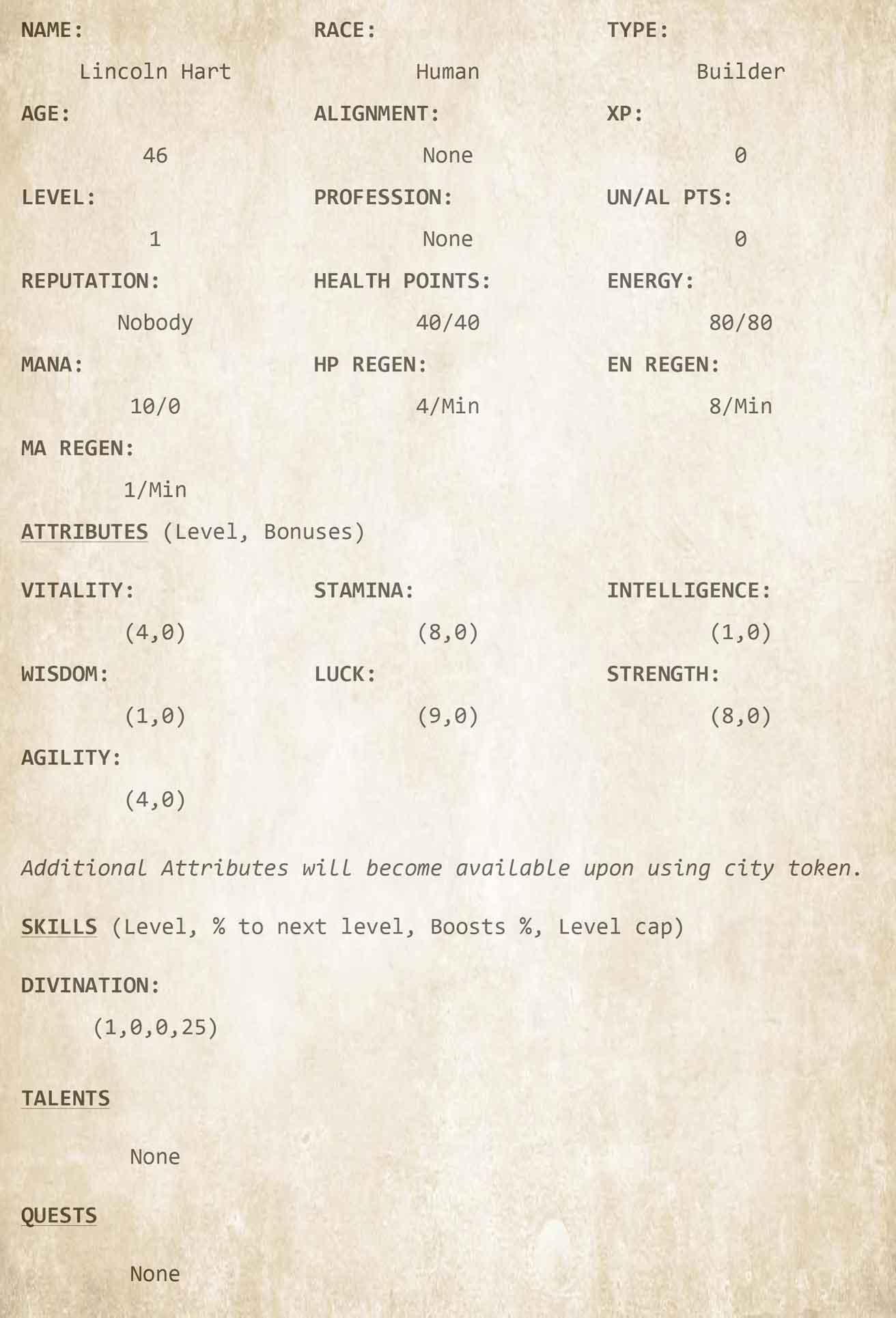 Chapter 3 - Character Sheet 2