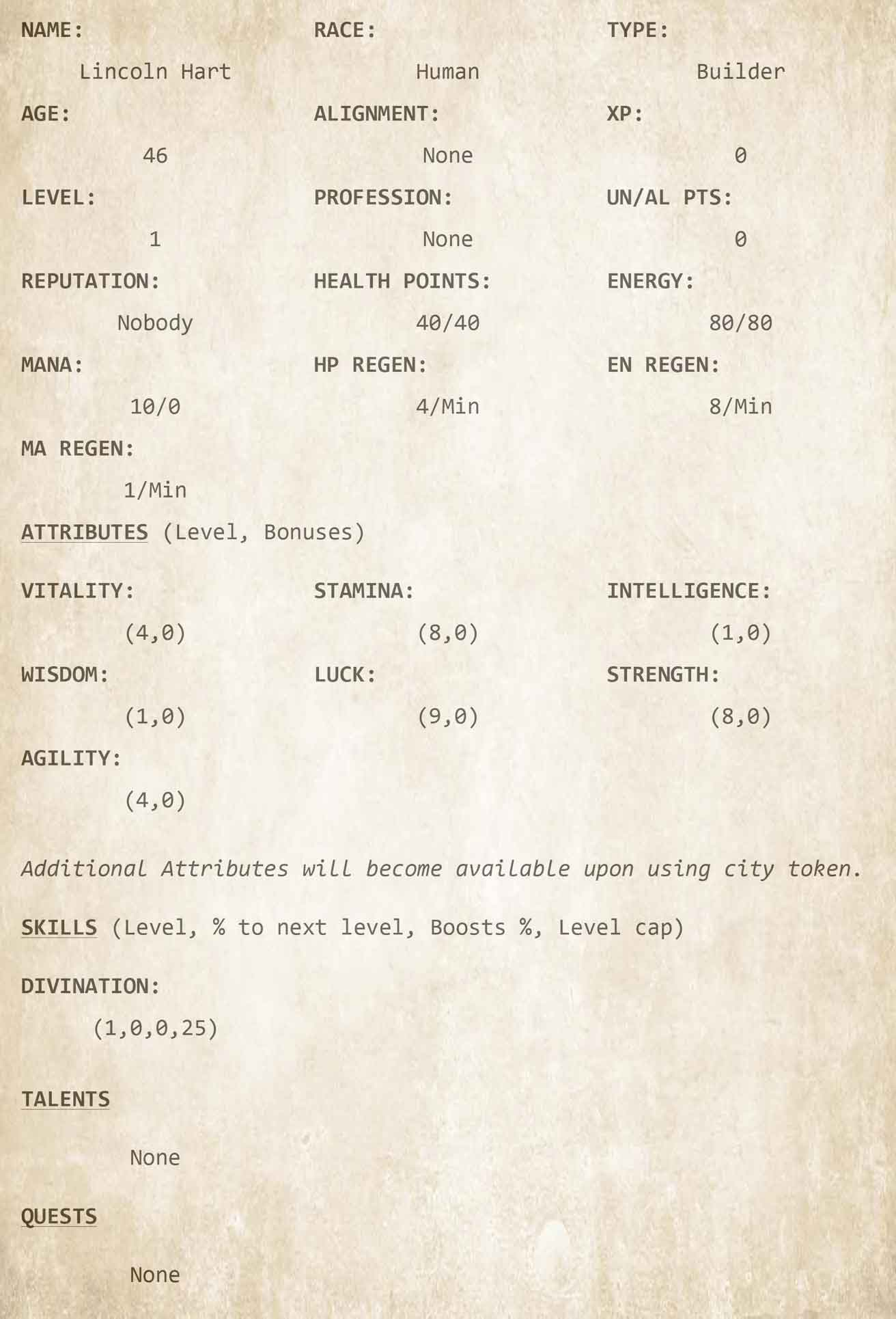 Chapter 3 - Character Sheet 2
