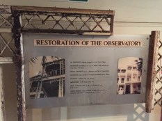 Information on the restoration of the Observatory Museum. Photo: Heather Cameron.
