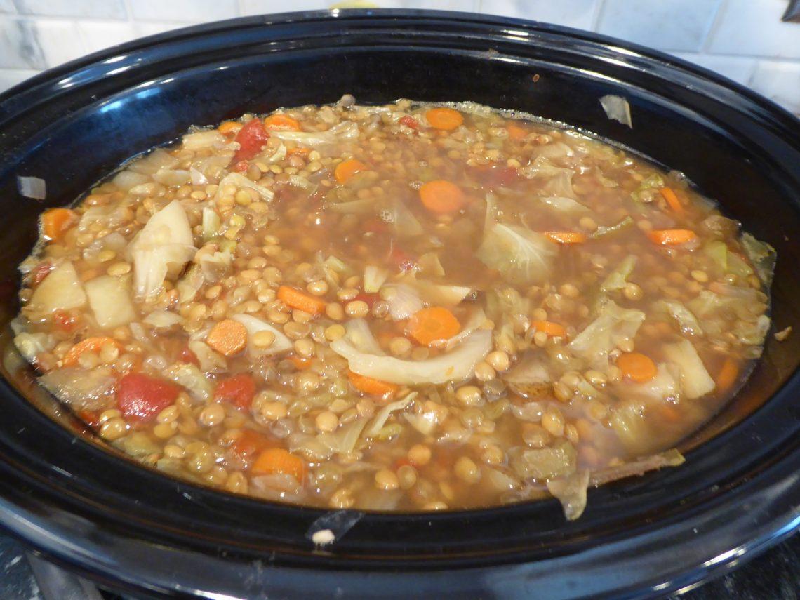 lentil soup in a crock pot