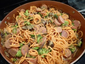sausage, sweet potato, broccoli, mushrooms