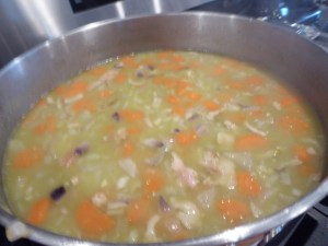homemade split pea soup in stock pot
