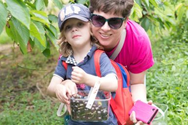 Sammy & me with one of our punnets of cherries