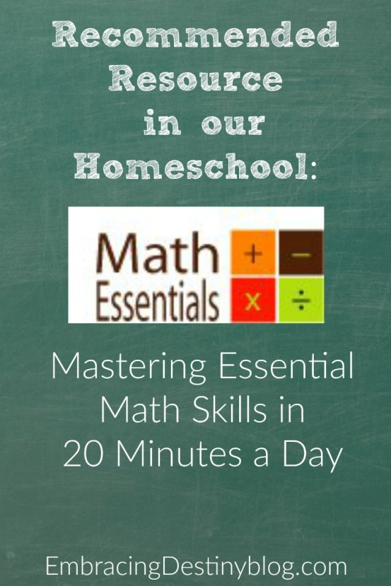 Mastering Math Essentials in 20 minutes a day! Math Essentials is a recommended resource in our homeschool. embracingdestinyblog.com