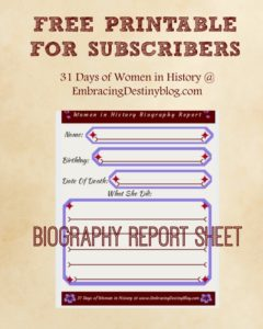 FREE PRINTABLE: 31 Days of Women in History Biography Report Sheet