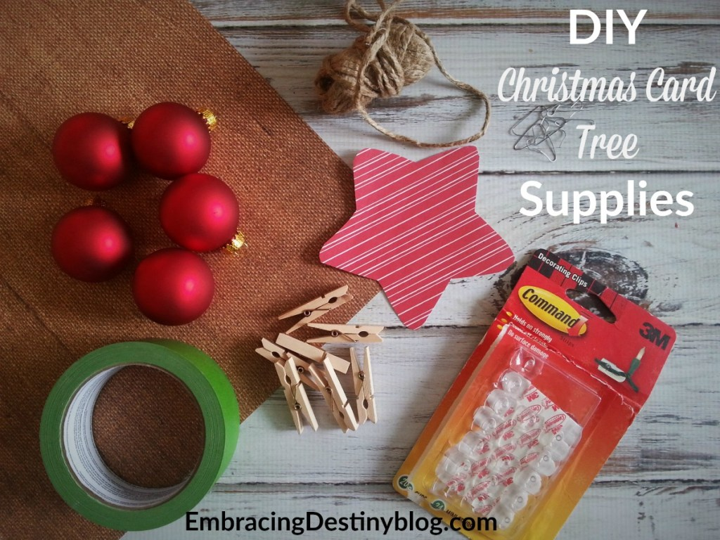 DIY Christmas Card Tree supplies ~ everything you need for a budget-friendly homemade Christmas card display
