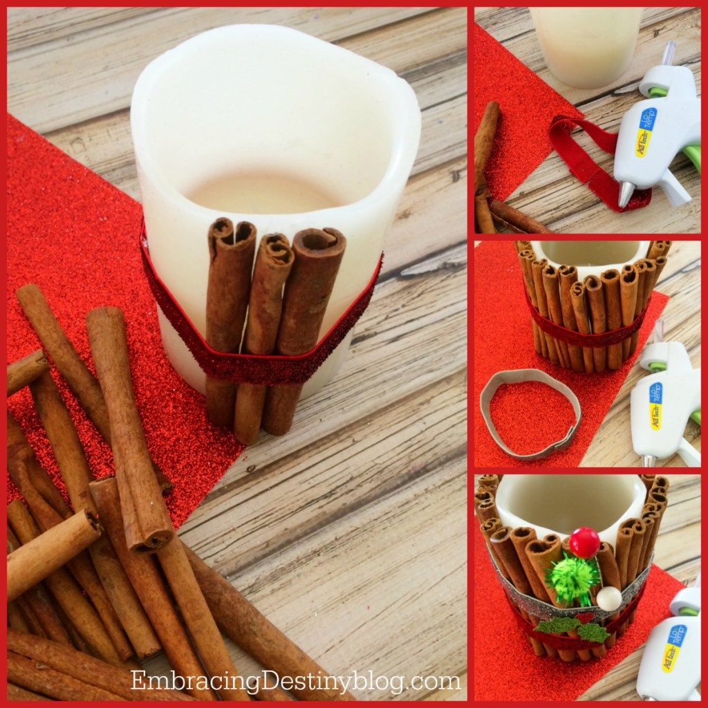 DIY upcycled cinnamon battery operated candle step by step photos