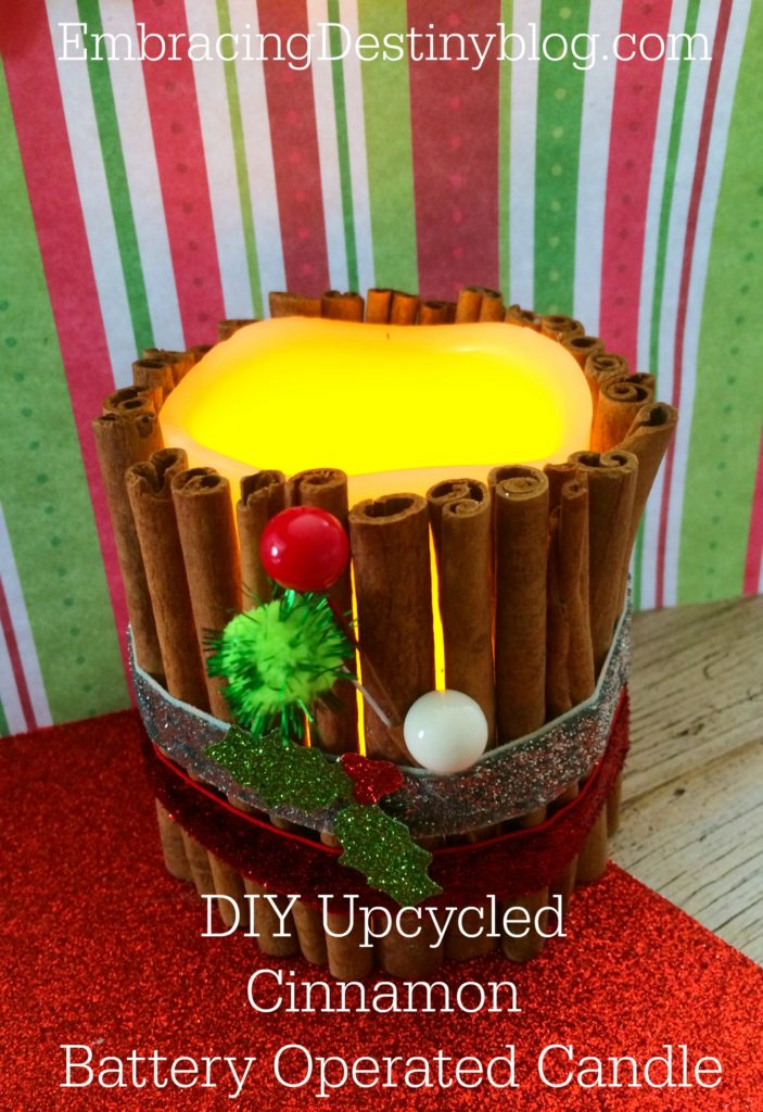 DIY upcycled cinnamon battery operated candle. Step by step with photos. LED candle from dollar store. Super cute and simple! embracingdestinyblog.com