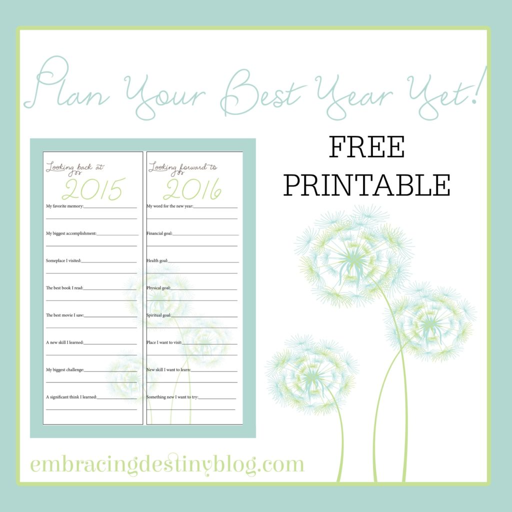 FREE PRINTABLE: Looking Back Looking Forward new year journaling page