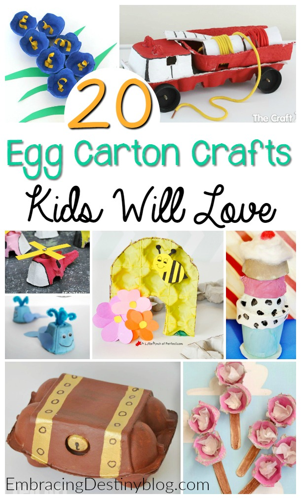egg carton crafts: Egg cartons are a great versatile craft supply to have on hand! Including everything from flowers, a bee hive, and whales to a fire truck, train, and even an ice cream sundae.