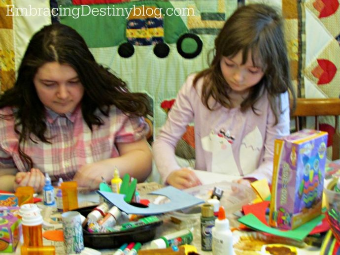 making crafts with kids