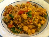 Moroccan spiced quinoa with vegetables, chickpeas, and golden raisins