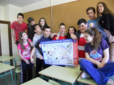 My students, holding a map of the USA in honor of their new friends