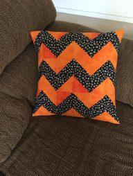 orange black chevron pillow
