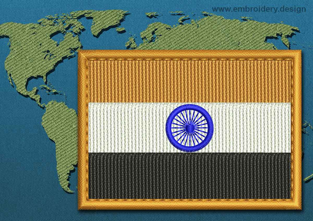 India Rectangle Flag Embroidery Design With A Colour Coded