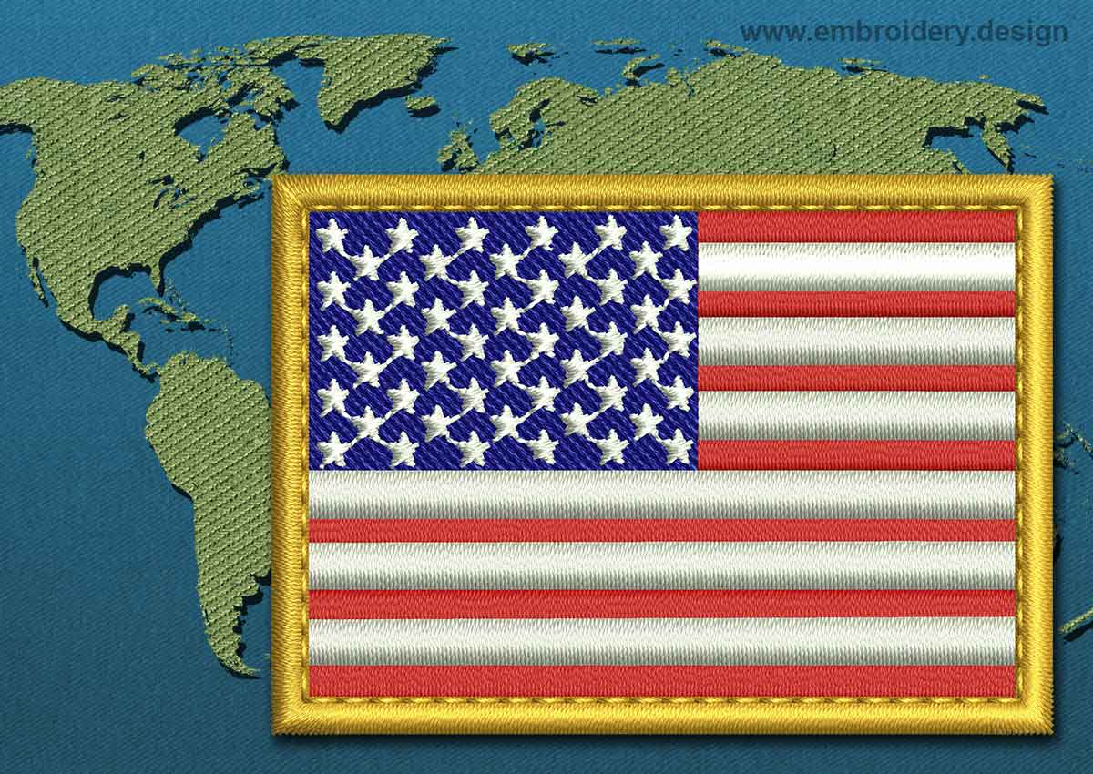 United States Of America Rectangle Flag Embroidery Design
