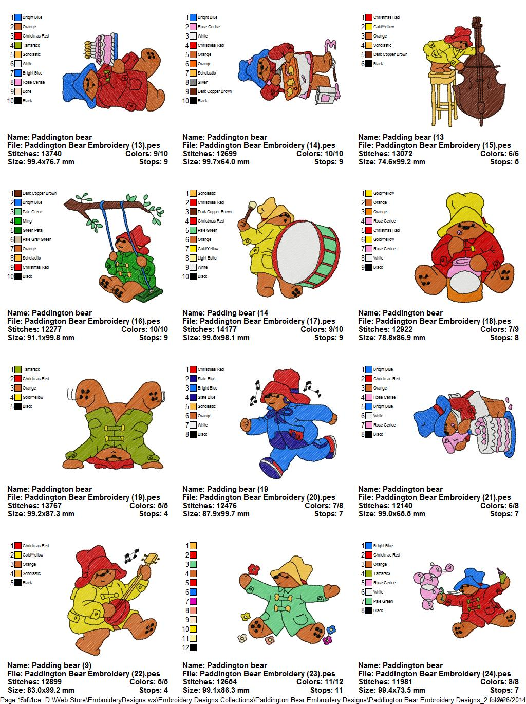 Collection Paddington Bear Embroidery Designs 02