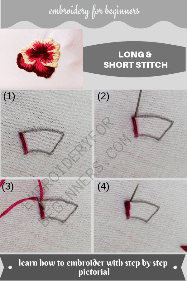 how to make long and short stitch with step by step pictures