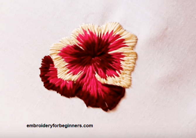long and short stitch flower