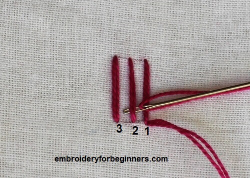 starting to weave the needle for trellis stitch