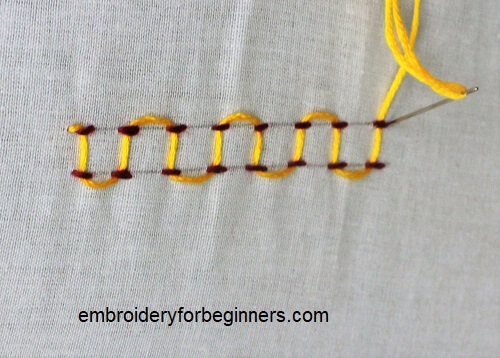 completing the laced parallel running stitch