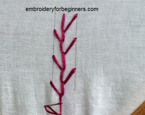 finishing the feather stitch