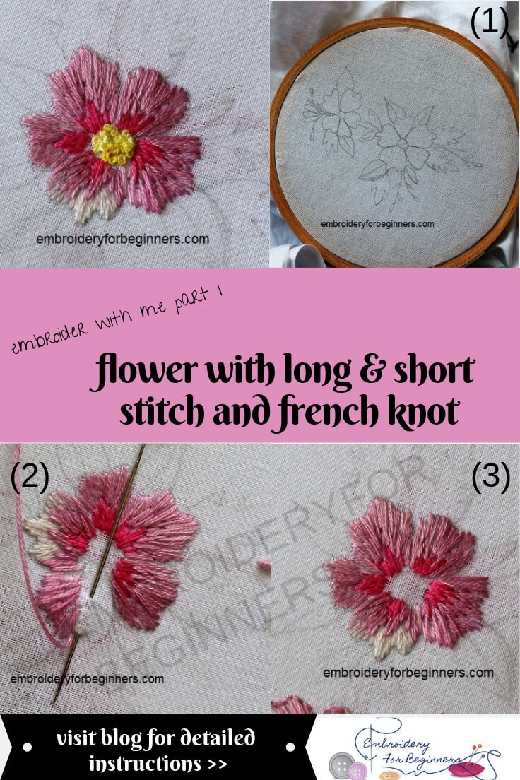 flower with long and short stitch & french knot